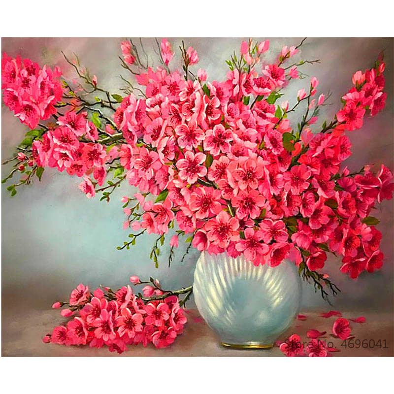 Painting By Numbers Frameworks Coloring By Numbers Home Decor Pictures Flowers Vase Decorations RSB8382