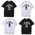 Летняя новая Японская популярная футболка A INFINITE Ape с логотипом ape-man shark с круглым воротником хлопковые мужские и женские свободные футболки ...