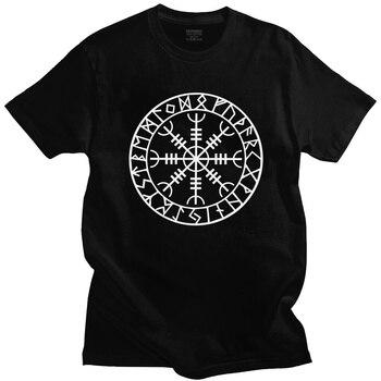 Norse Viking Rune Amulet Men T Shirt Cotton Icelandic Vegvisir Compass Tee Tops Short Sleeved Fashion Odin Warrior Legend Tshirt 1