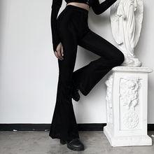 Женские винтажные бархатные леггинсы черные облегающие брюки