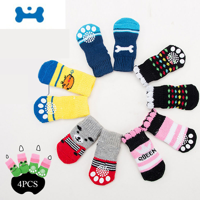 OUYXR 4Pcs Warm Puppy Dog Shoes Soft Pet Knits Socks Cute Cartoon Anti Slip Skid Socks For Small Dogs Breathable Pet Products