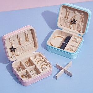 Image 4 - 휴대용 여성 메이크업 주최자 쥬얼리 스터드 귀걸이 목걸이 반지 팔찌 가방 여행 지퍼 케이스 액세서리 용품을 확인하십시오