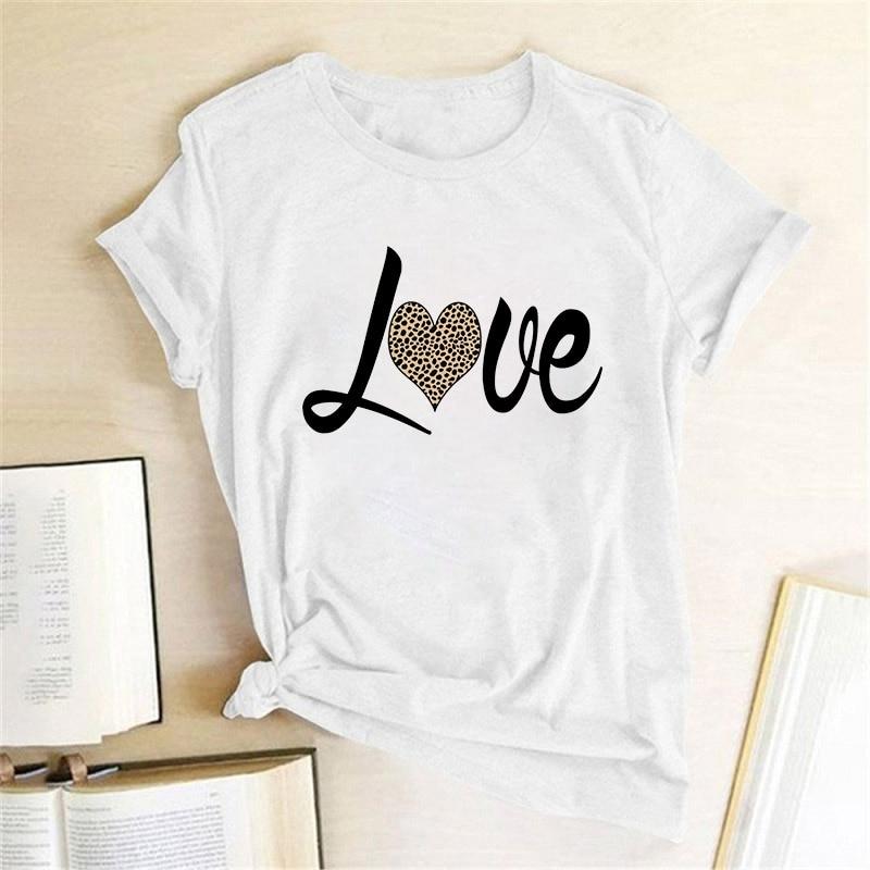 Summer T-shirt Women Fashion Fun Retro Top Female Letter Love Leopard Tshirt O-neck Short Sleeve Ladies T Shirt Plus Size 3XL