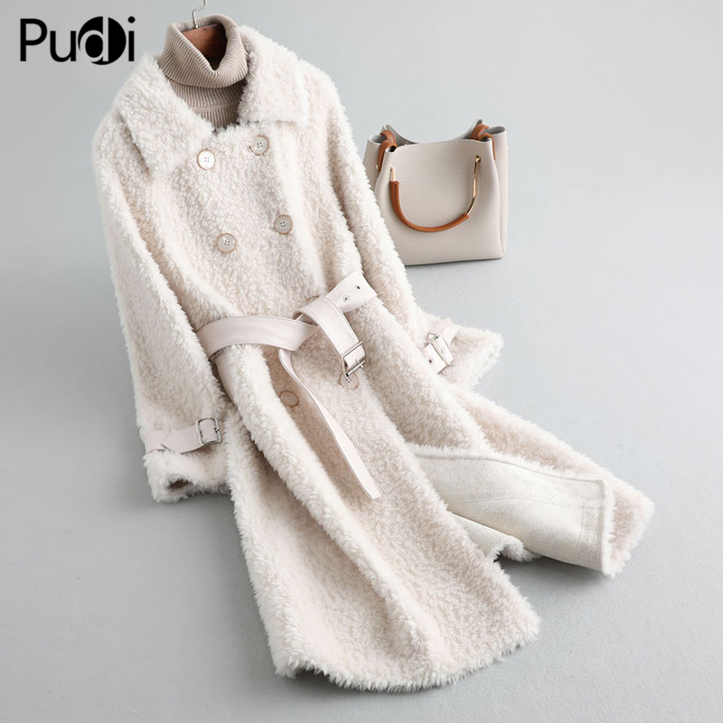 PUDI A19057 Lady Real Wool Fur Coat Jacket With Leather Belt Overcoat Women Winter Warm Genuine Fur Coats Trench