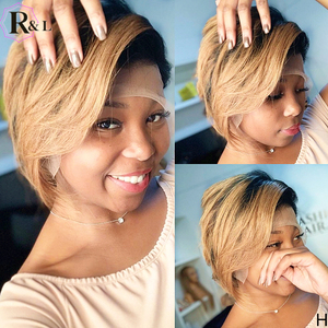 RULINDA Short Bob Ombre Colored Lace Front Human Hair Wigs Side Part 180% Density Pixie Cut Brazilian Remy Hair Lace Wigs 13X4(China)