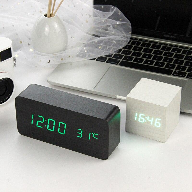 LED Holz Wecker Uhr Tisch Voice Control Digitale Holz Despertador Elektronische Desktop USB/AAA Betriebene Uhren Tisch Dekor