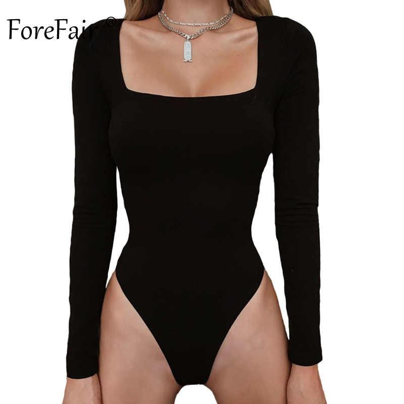 Forefair сексуальный комплект для женщин с длинными рукавами Зима 2019 базовые Топы квадратный вырез тонкий черный белый желтый сплошной облегающий костюм