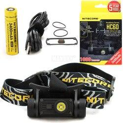 Linterna de cabeza NITECORE HC60 HC60W, recargable por USB, CREE XM-L2 U2, faro para Camping de 1000 lúmenes + batería de 3400mAh y 18650, Envío Gratis