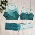 Ombre Frauen Sportswear Fitness Anzug Nahtlose Yoga Set Workout Kleidung Sport Outfit Für Frau Gym Kleidung Sport Set