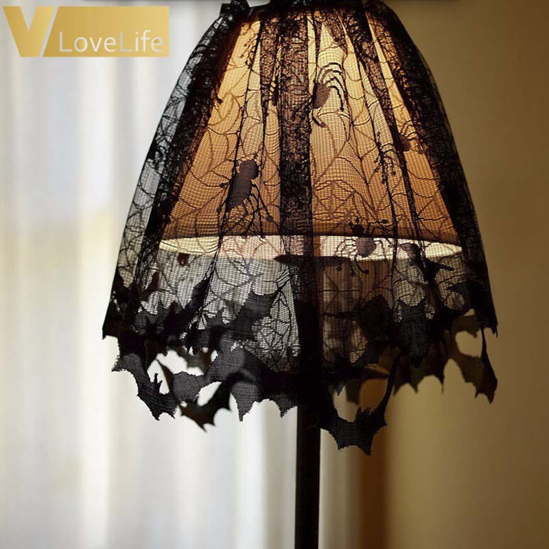 Lamp Shades Black Lace Spider Web Table Runner Luxury Fireplace Mantle Scarf Landshade Topper Decorations For Home ornaments