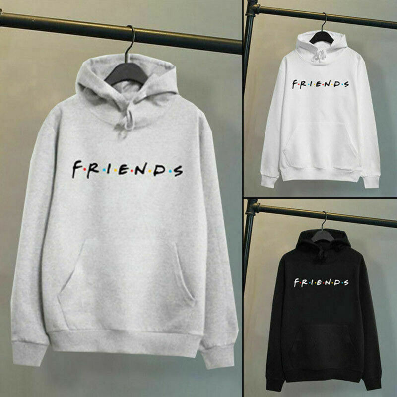 Harajuku Men Women Friends Print Hoodies Pullover Cool Letters Elegent Unisex Sport Sweatshirt White Black Casual Hoodies