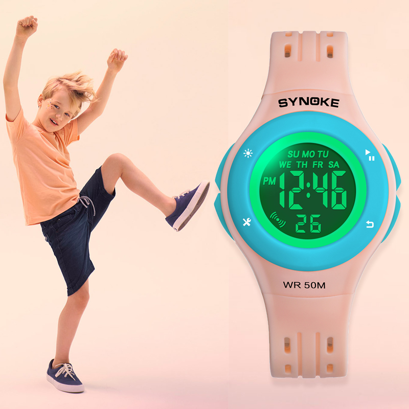 SYNOKE Sport Kids Watches Colorful Dial Design Watch Waterproof 50M PU Band Digital Wristwatches For Boys Girls Relogio Infantil