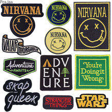 Prajna Hippie Letter Patches Rock Band Patch Iron On Embroidered For Clothes Stripes Star Wars Nirvana Stickers