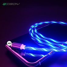 Flowing LED Glowing Charger USB Data Cable Fast Charging cable For iphone 8 7 Samsung S9 Huawei P30 Type C Micro Charge Wire