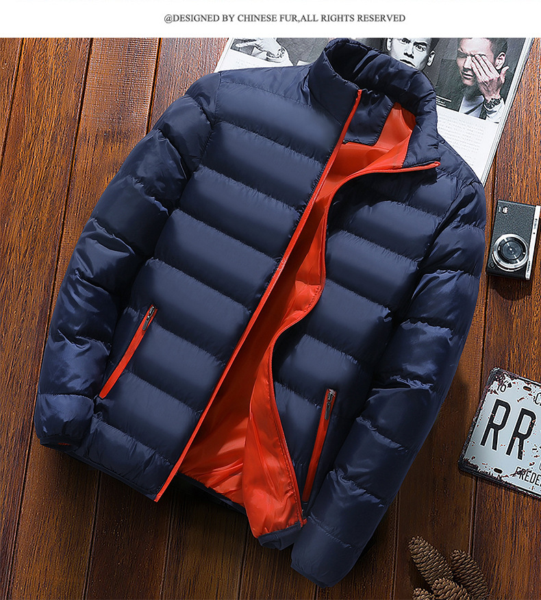 Cool Men Casual Solid Color Tops Down Jacket 2020 New Autumn Winter Fashion Men Casual Cool Slim-type Men No Cap Down Jacket