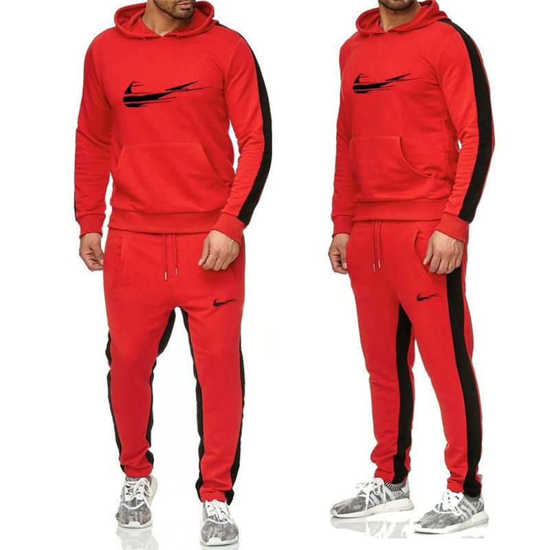 Image 2 - two piece set warm sport suit men winter velvet tracksuit velour hoodie sweatshirt track pants sweat suits jogging sweatsuit-in Men's Sets from Men's Clothing