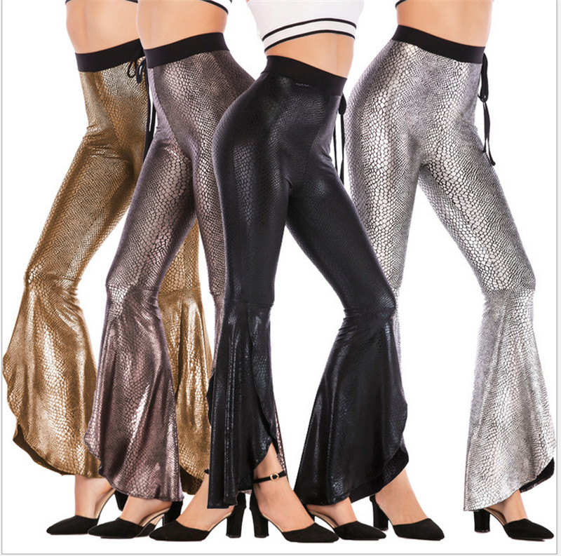 Fashion Women Flared Leg Stretch Pants Bell Bottom Asymmetric Long High Waisted Trousers Elastic Wait Snake Skin Pants Bottoms