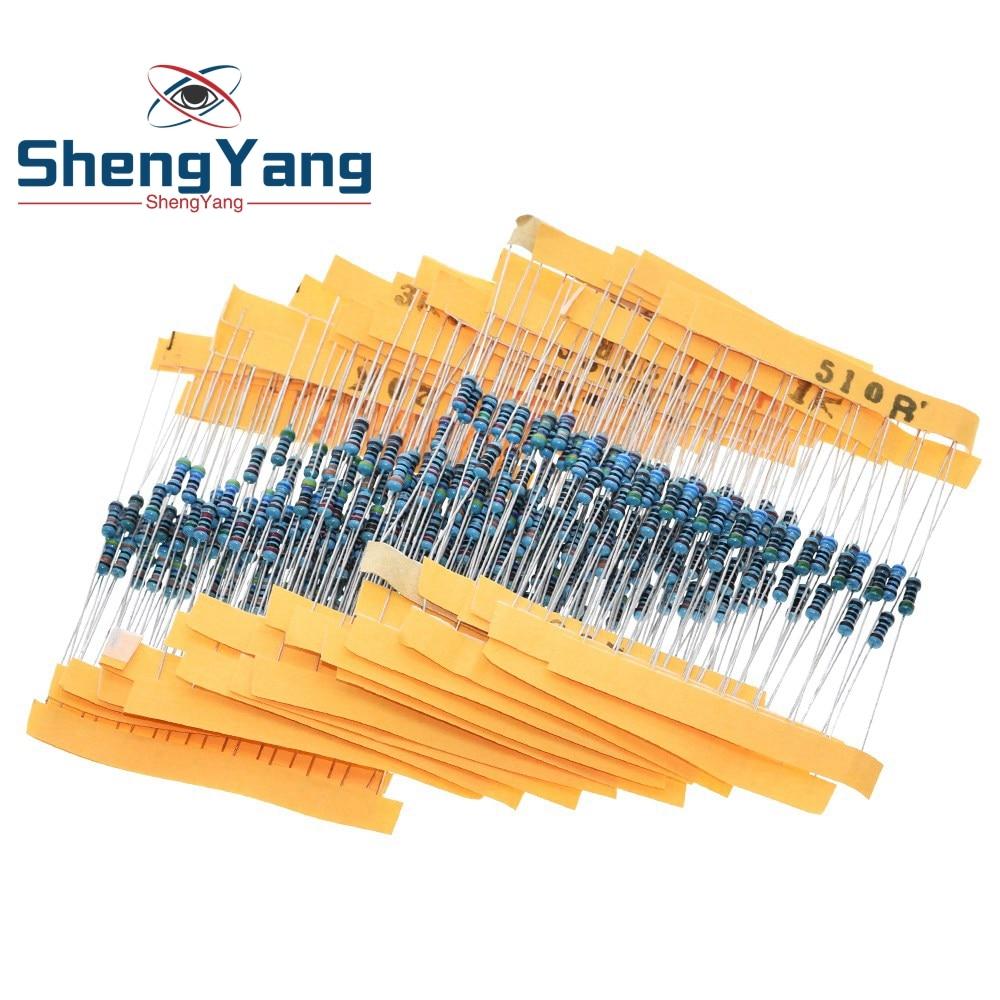 ShengYang-Kit surtido de resistencias de película metálica, resistencia 300, 10 -1M Ohm 1/4w, 30 tipos cada uno, 10 Uds. Por paquete