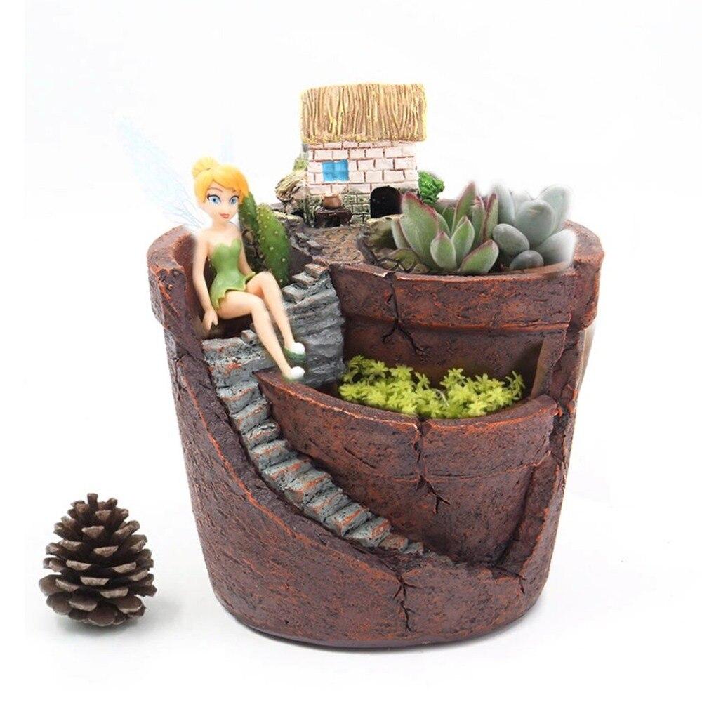 AMW Succulent Plant Creative Plants Pot With City Of Sky Flowerpot Combination Resin  Pot Flower Basket House Planter Pot