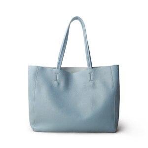 Image 2 - ผู้หญิงหรูหรากระเป๋า Casual Tote หญิง Light Blue แฟชั่นไหล่กระเป๋าถือ Lady Cowhide หนังแท้กระเป๋าสะพายกระเป๋า