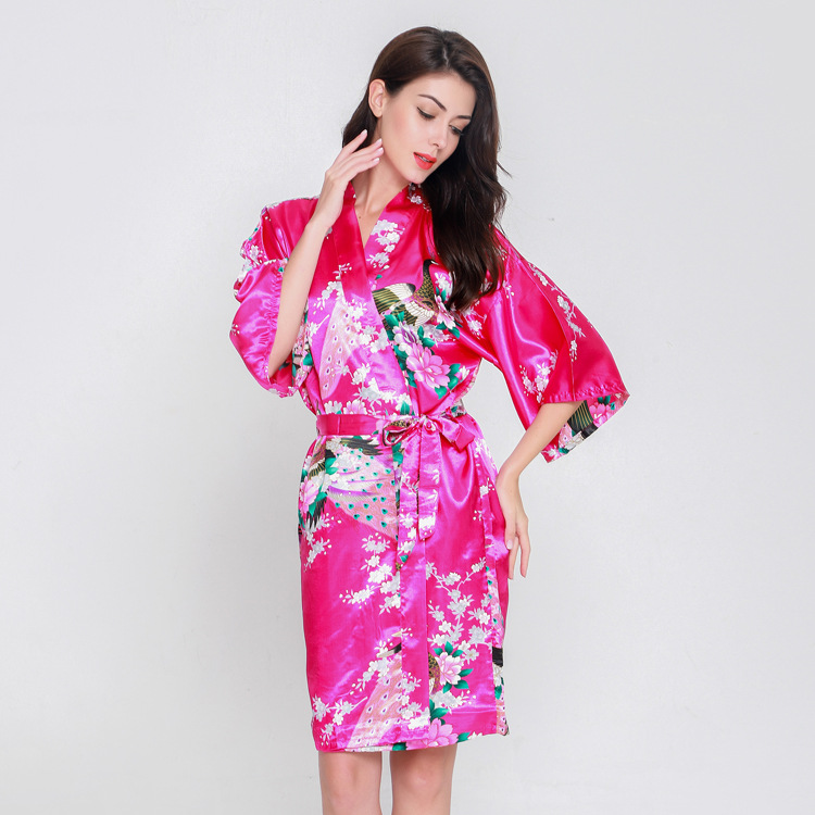 Women New Bride Bridesmaid Wedding Party Robe Female Sleepwear Print Floral&Peacock Kimono Bathrobe Rayon Nightgown Home Clothes