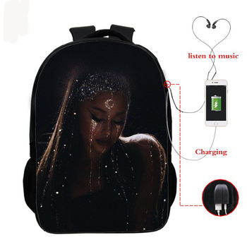 USB Charging School Backpack Ariana Grande Graphic School Bag Ariana Grande 3d Printed Schoolbag for Teenager Boys Girl knapsack фото