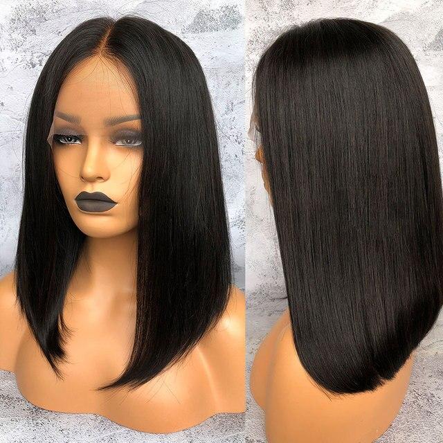 Links 13X4, pelucas de cabello humano frontal de encaje, pelucas de 10-16 pulgadas, pelucas de cabello humano frontal de Bob corto recta brasileña, pelucas de Color Natural L