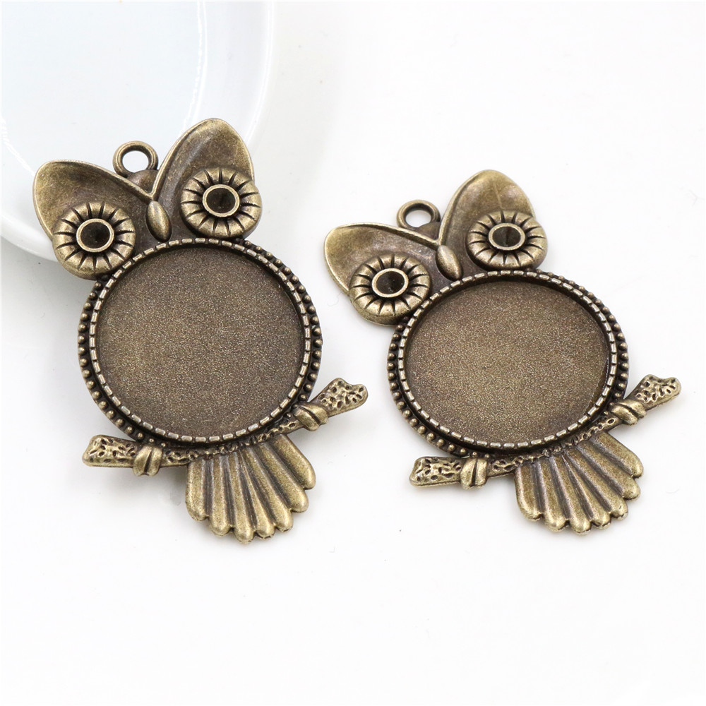 New Fashion  3pcs 25mm Inner Size Antique Bronze Owl Cabochon Base Setting Charms Pendant (A5-06)