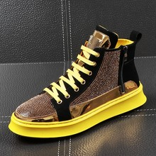 2019 Men High Top Gold Glitter Sneakers Lace Up Crystal Platform Blue Flats Gold Shoes Man krasovki Bling Silver Snickers Shoes(China)