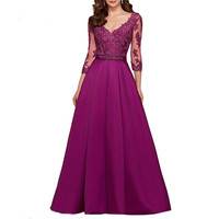 Purple 3/4 Long Sleeves Evening Dresses 2020 Elegant Lace Appliqued Beaded Long Formal Gowns Illusion V Neck Satin Prom Dress