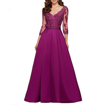 Purple 3/4 Long Sleeves Evening Dresses 2020 Elegant Lace Appliqued Beaded Long Formal Gowns Illusion V-Neck Satin Prom Dress purple geometrical pattern round neck long sleeves christmas dress