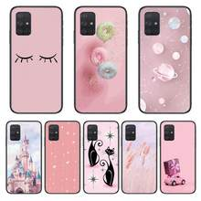 Castelo gato rosa caso de telefone casco para samsung galaxy a 50 51 20 71 70 40 30 10 e 4g 5g s escudo preto arte capa celular