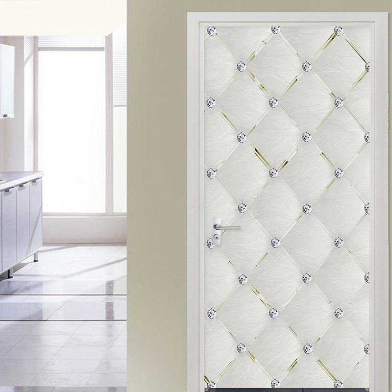 Adhesivo de puerta autoadhesivo 3D, Diamante estéreo suave, sala de papel tapiz geométrico para estar, cocina, Adhesivo resistente al agua de PVC, decoración del hogar