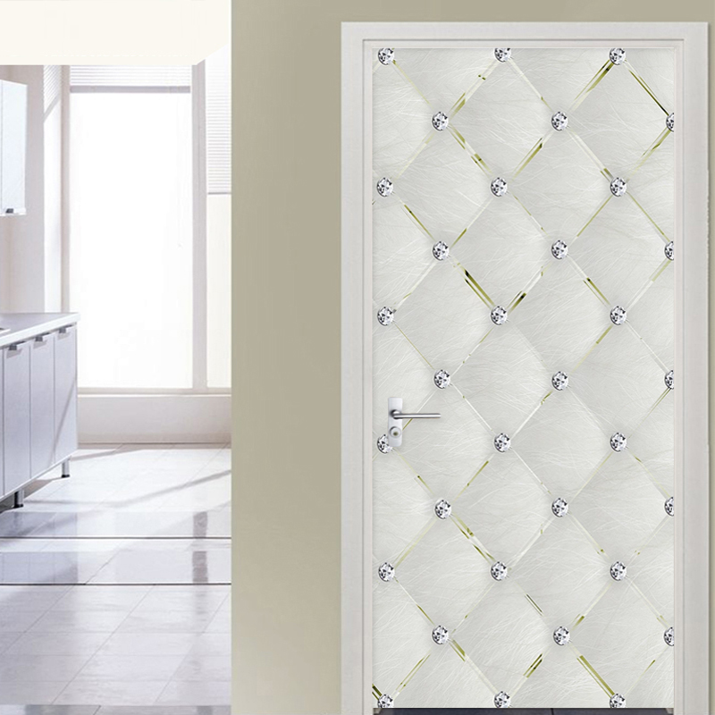 Self-Adhesive Door Sticker 3D Stereo Diamond Soft Roll Geometric Wallpaper Living Room Kitchen PVC Waterproof Sticker Home Decor