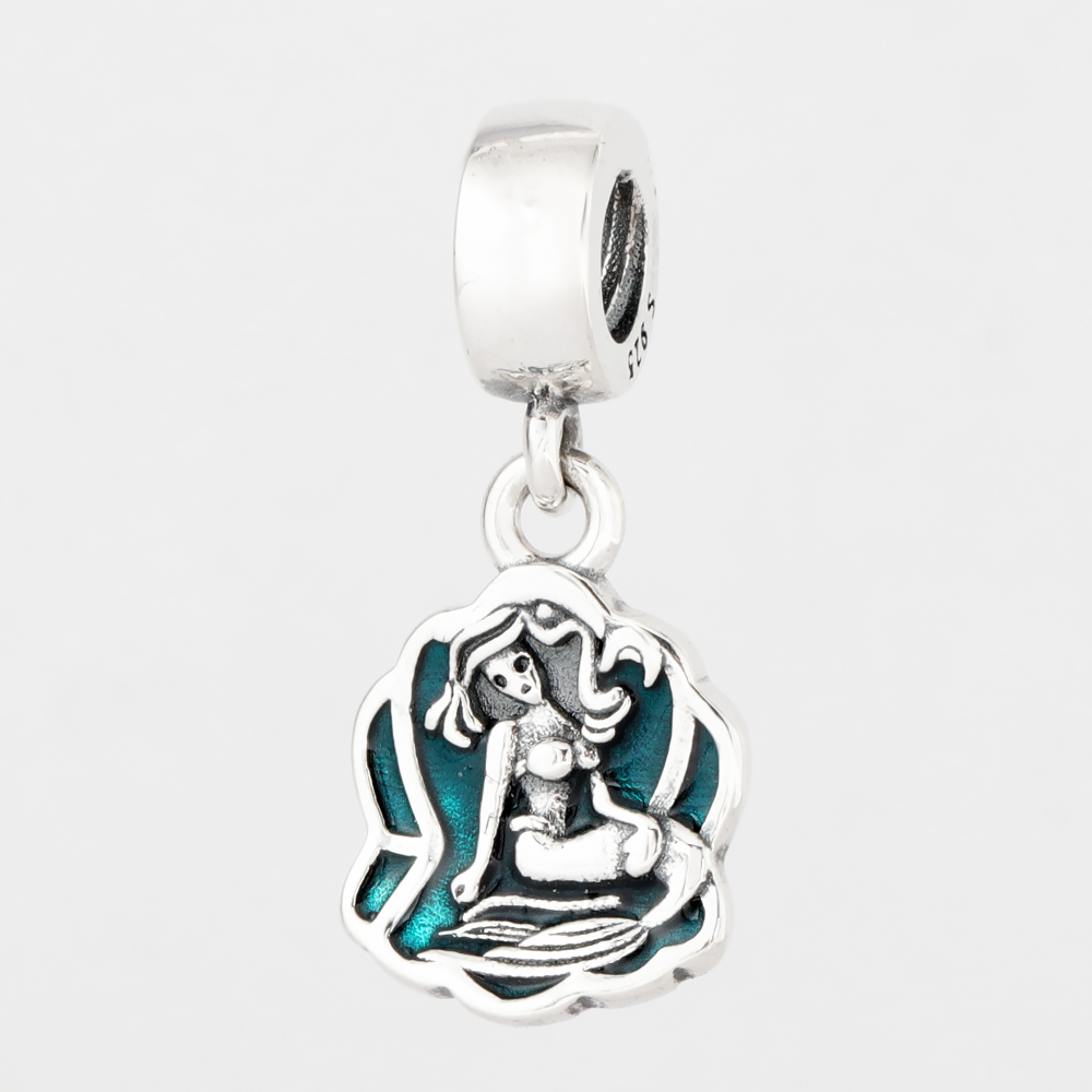 Free Shipping Authentic 925 Sterling Silver Green Ariels Mermaid Dangle Charm Fit Pandora Bracelets For Women DIY Jewelry Beads(China)