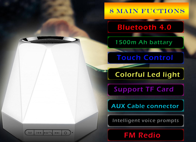 Colorido Led luz Mini portátil inalámbrico Bluetooth 3D Surround HIFI Radio reloj alarma