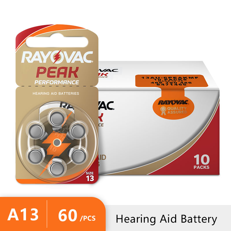 Hearing Aid Batteries Rayovac Peak Air-1.45v PR48 NEW A13 Zinc 60pcs P13 for 13A title=