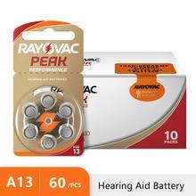 Pilhas auditivas 1.45v rayovac peak, 60 peças, para aparelho auditivo, a13 13a 13 p13 pr48 para aparelhos auditivos