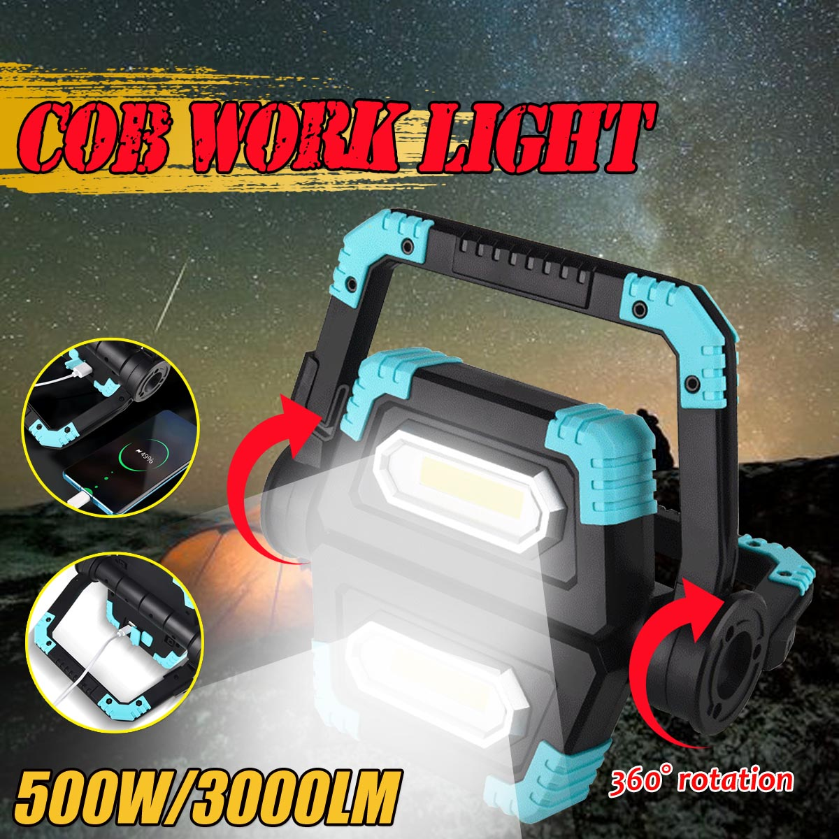 Cob Work Light 500W Led Portable Spotlight 3000LM Super-Bright USB lantern Camping Outdoor Lighting rechargeable Led Flashlight