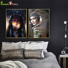 Indian Woman Indigenous Wall Art Canvas Painting Native Nordic Poster Aboriginal Pictures For Living Room Cuadros Unframed