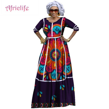 2020 Plus Size Women Africa Custom Dresses Clothing Bazin Riche African Cotton O-Neck Print Long Dresses for Women WY2924