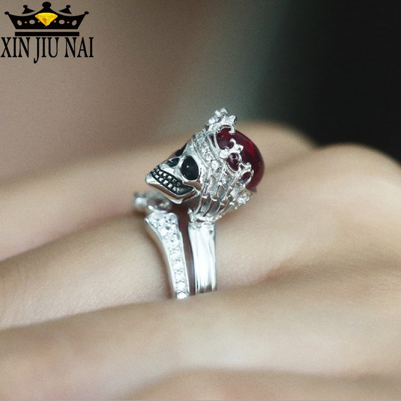 Crown Skull Ring Punk Rock Gothic Red Crystal Wedding Rings For Women Set Silver Ring Couple Bridal Ring Accessory Jewelry