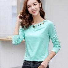 Женская футболка с длинным рукавом и вышивкой 2019 хлопок