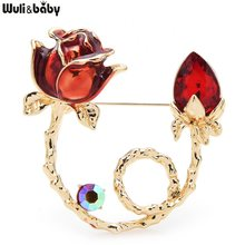 Wuli&baby Enamel Rose Flower Brooches Women 3-color Rhinestone Flower Office Party Brooch Pins Gifts