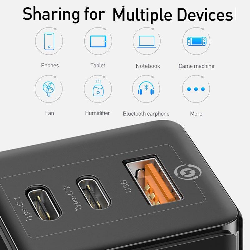 Chargeur USB rapide Baseus GaN PD 3.0 pour iPhone 11 Pro prise en charge maximale FCP SCP QC 3.0 pour Samsung S10 Plus Huawei P30 Pro Xiaomi - 6