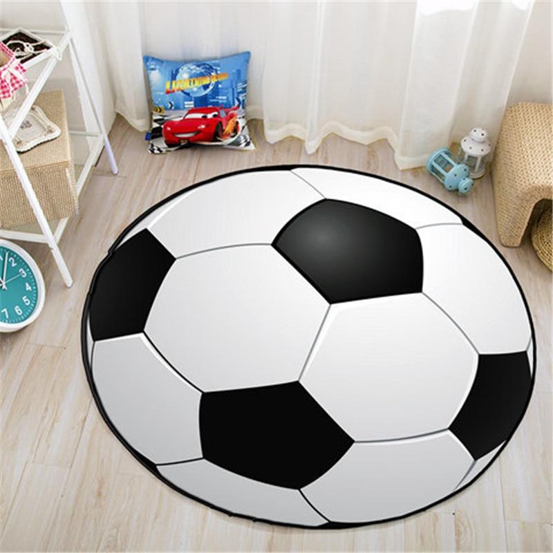 Anti-slip Ball Round Carpet Computer Chair Pad Football Basketball Living Room Mat Children Bedroom Rugs For Teen Boys
