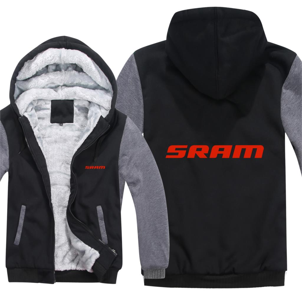 Sram Hoodies Men Winter Zipper Coat Fleece Thicken Sram Sweatshirt Pullover