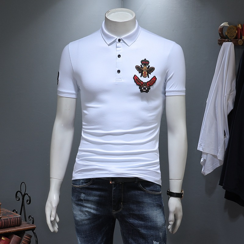 2019 High Quality Bee Crown Embroidery Polo Shirt Fashion Short Sleeve Slim Cotton Designer Polo Shirts Men Plus Size 5XL DS750