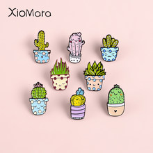 Cartoon Groene Plant Ingemaakte Emaille Pin Metalen Vetplant Cactus Aloë Sieraden Knop Denim Jassen Kraag Badge Broches Pins(China)