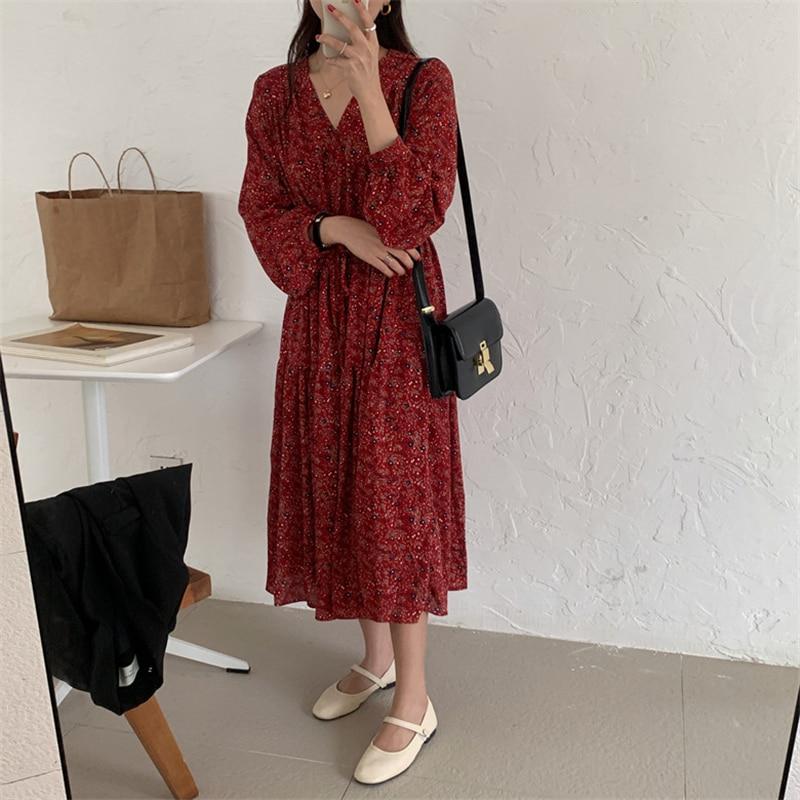 Hab8d7b786f27414fbc6cf5807cdc19d7T - Autumn V-Neck Lantern Sleeves Waist-Controlled Floral Print Midi Dress